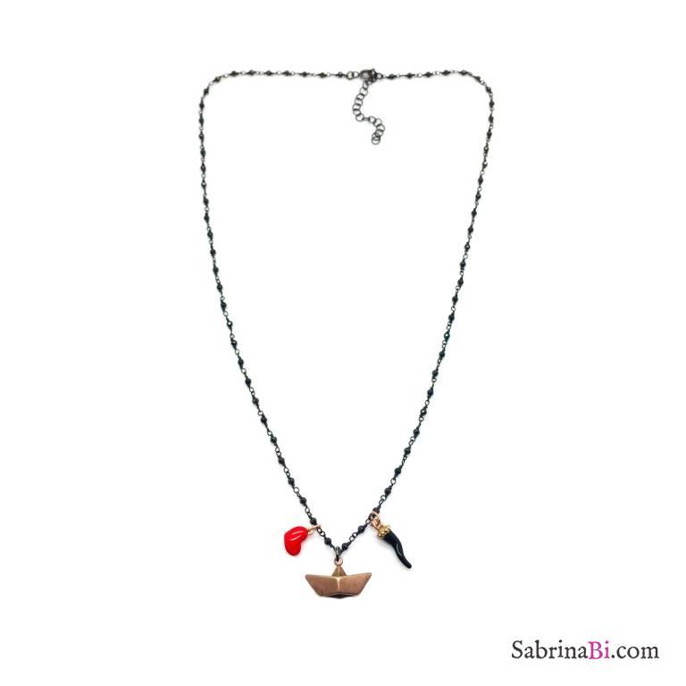 Collana argento 925 rodiato catena micro rosario cristalli neri Barchetta