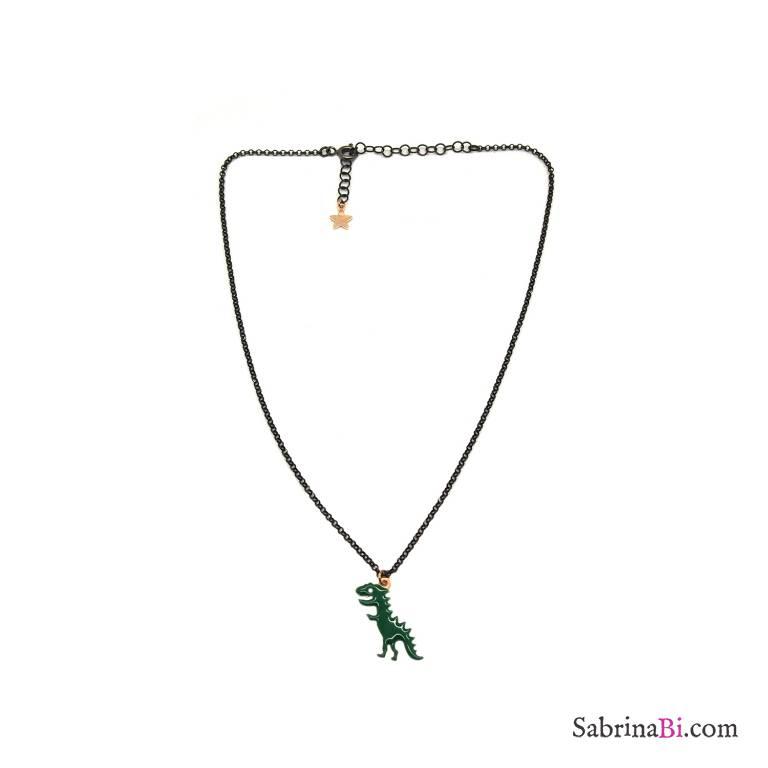 Collana argento 925 rodiato nero Dinosauro verde