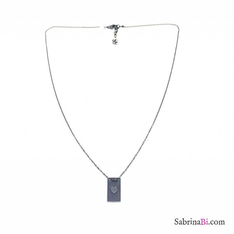 Collana argento 925 rodiato nero medaglietta cuore