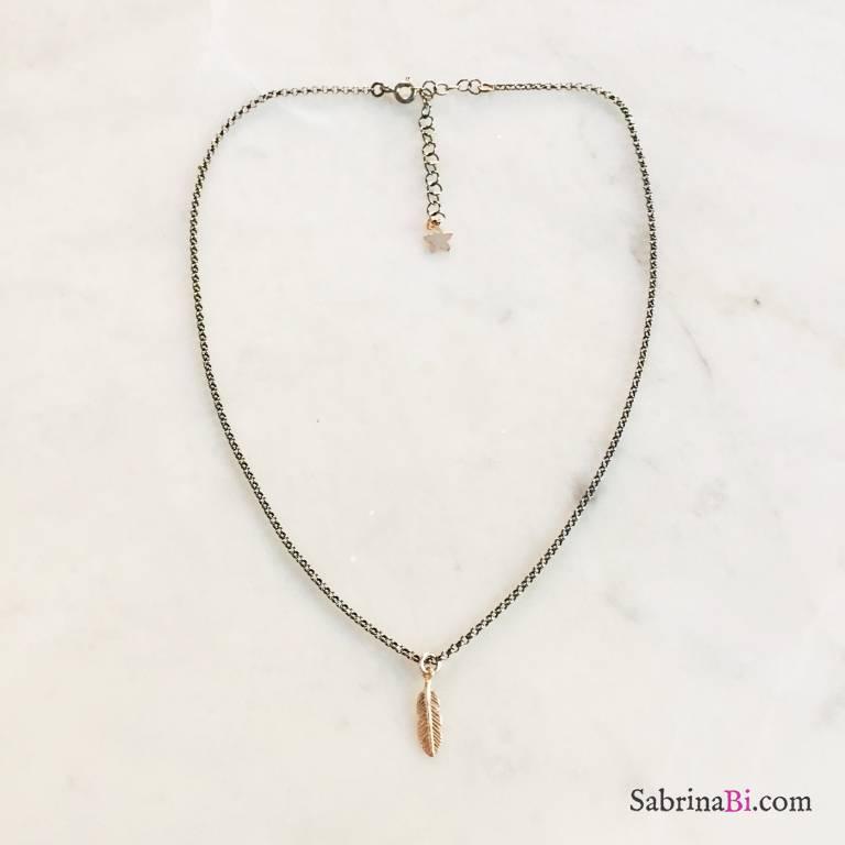 Collana argento 925 rodiato nero piuma oro rosa