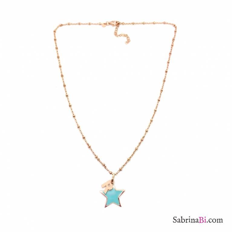 Collana argento 925 rosario oro rosa lettera iniziale nome + stella Tiffany