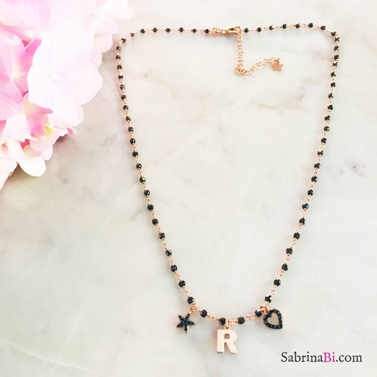 Collana argento 925 rosario oro rosa Spinelli neri lettera e charms Zirconi neri