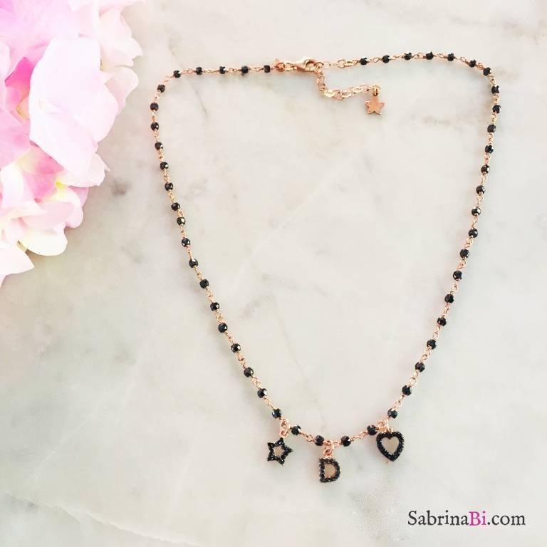 Collana argento 925 rosario oro rosa Spinelli neri lettera nera e charms Zirconi neri