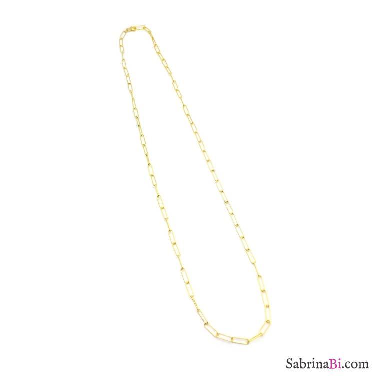 Collana catena graffetta piccola argento 925 oro giallo
