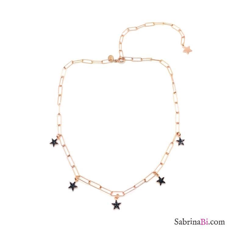 Collana catena graffetta piccola argento 925 oro rosa Stelle Zirconi neri