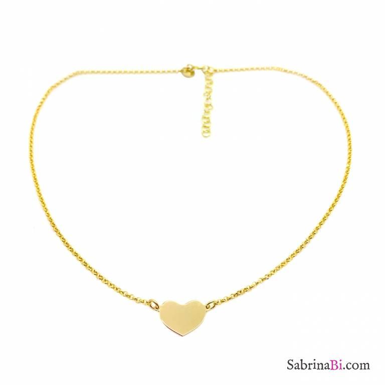 Collana choker argento 925 oro giallo e cuore