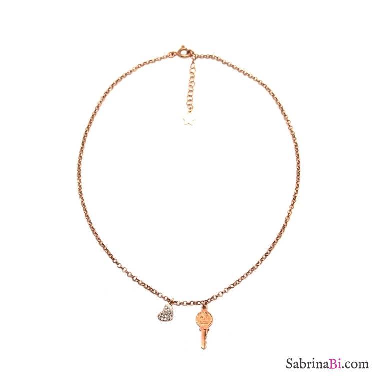 Collana choker argento 925 oro rosa Cuore Zirconi e Chiave
