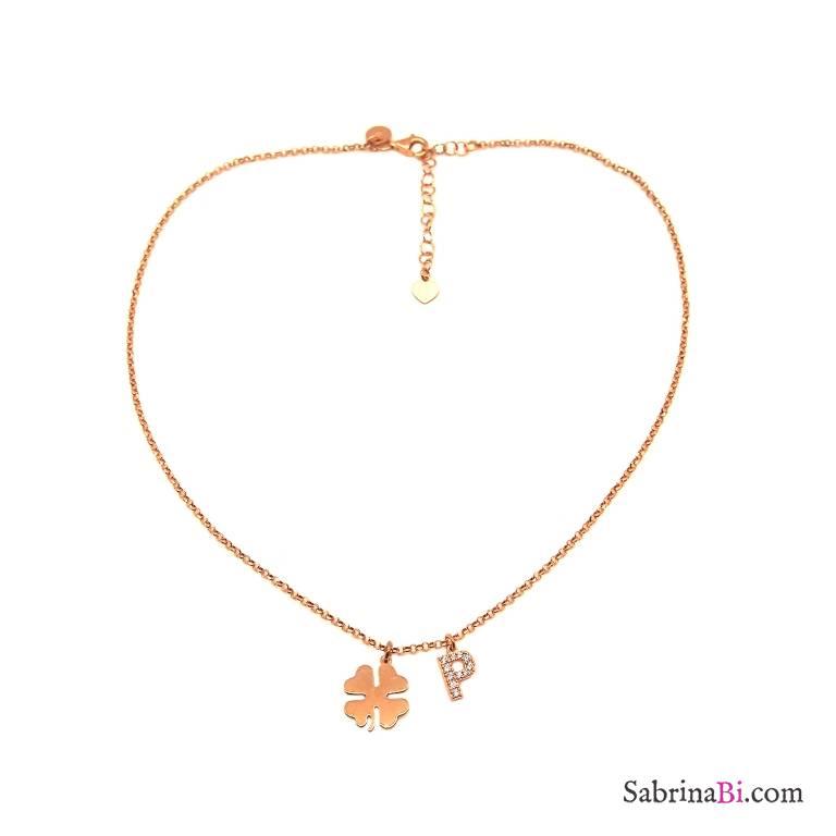 Collana choker argento 925 oro rosa lettera iniziale nome Zirconi e quadrifoglio