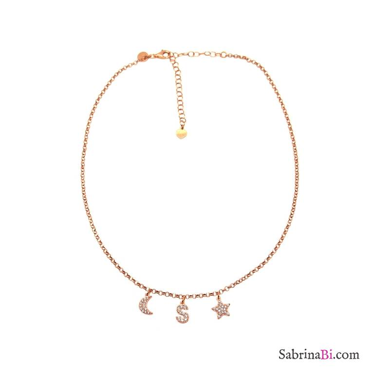 Rose gold sterling sterling silver customized Zirconia rose gold letter, moon and star choker necklace
