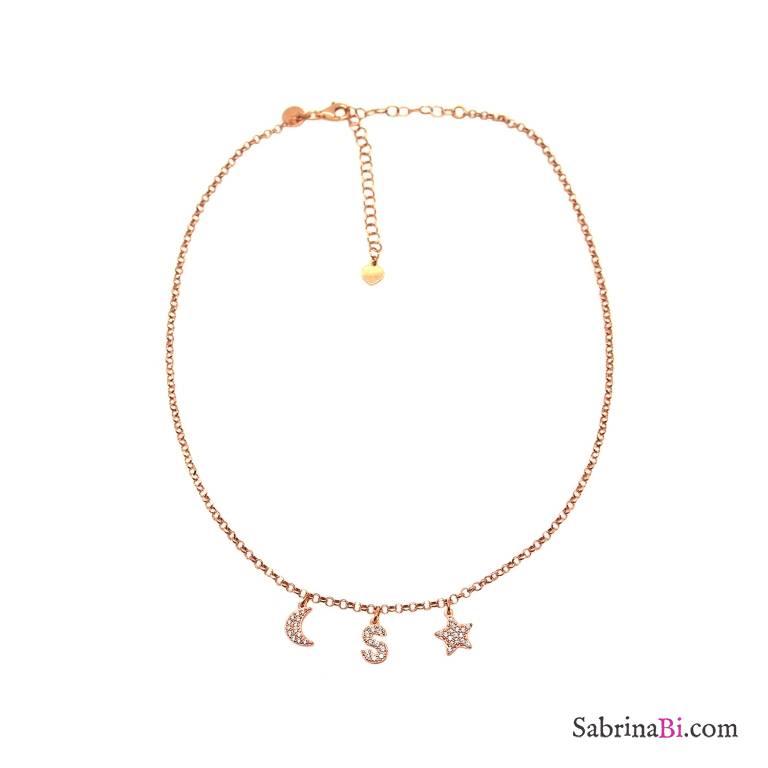 Collana choker argento 925 oro rosa lettera zirconi iniziale nome, luna e stella