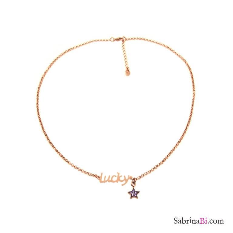 Collana choker argento 925 oro rosa Lucky e stella Zirconi viola