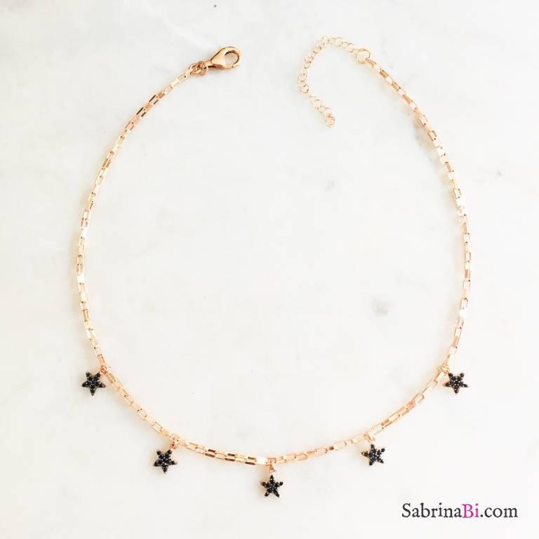 Collana choker argento 925 oro rosa Naomi