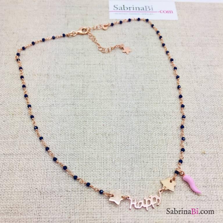Collana choker argento 925 oro rosa rosario Agata blu Happy