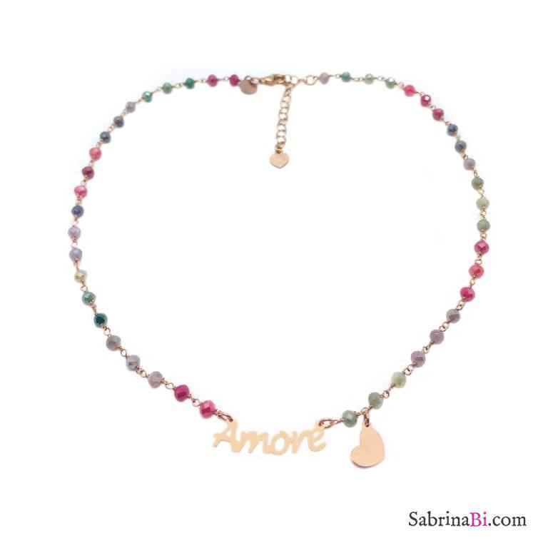 Collana choker argento 925 oro rosa rosario cristalli multicolor Amore e cuore