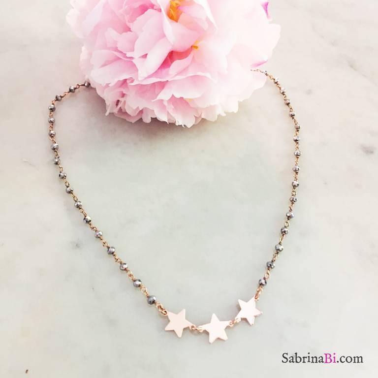 Collana choker argento 925 oro rosa rosario Ematite grigia 3 stelle