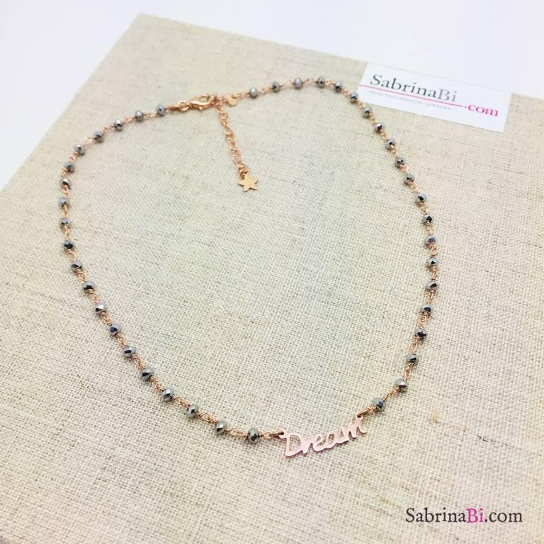 Collana choker argento 925 oro rosa rosario Ematite grigia Dream