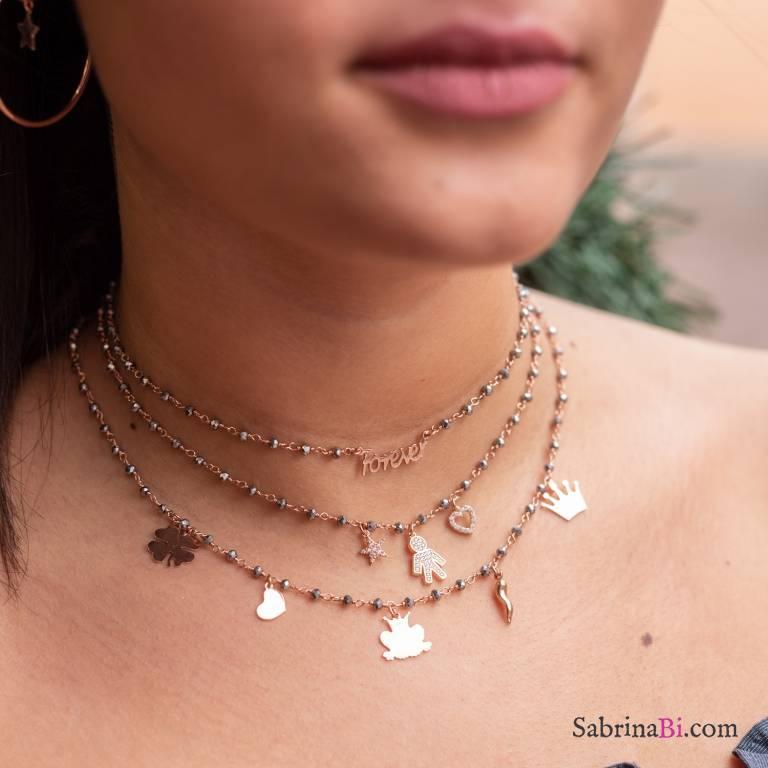 Collana choker argento 925 oro rosa rosario Ematite grigia Forever