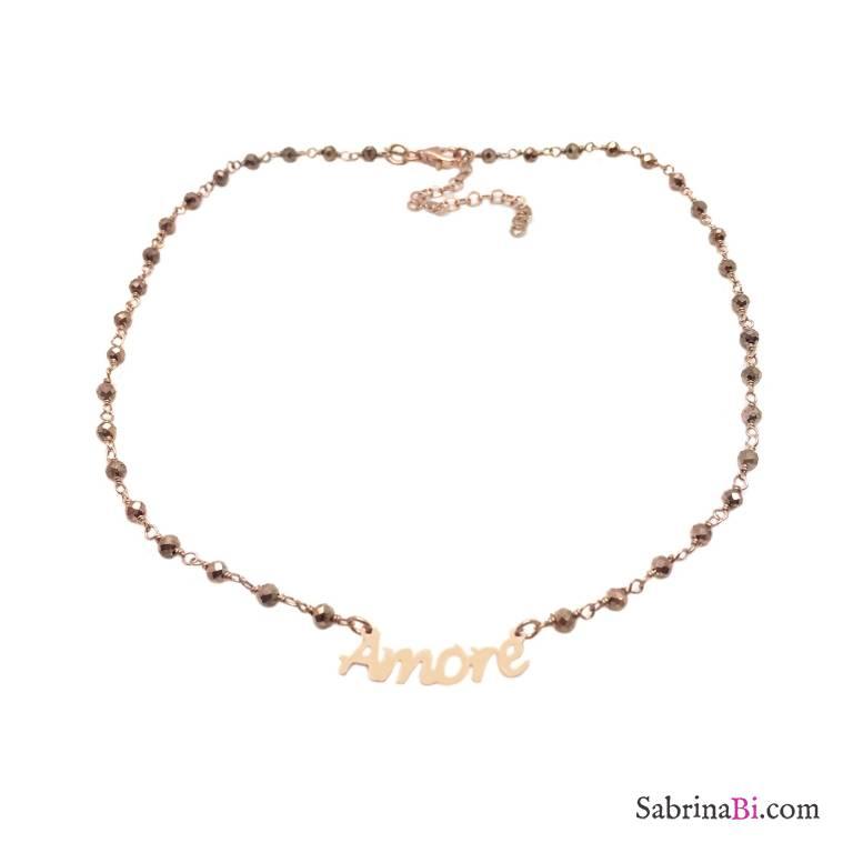 Collana choker argento 925 oro rosa rosario Pirite Amore