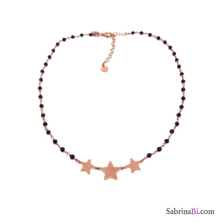 Collana choker argento 925 oro rosa rosario Spinelli neri e 3 stelle