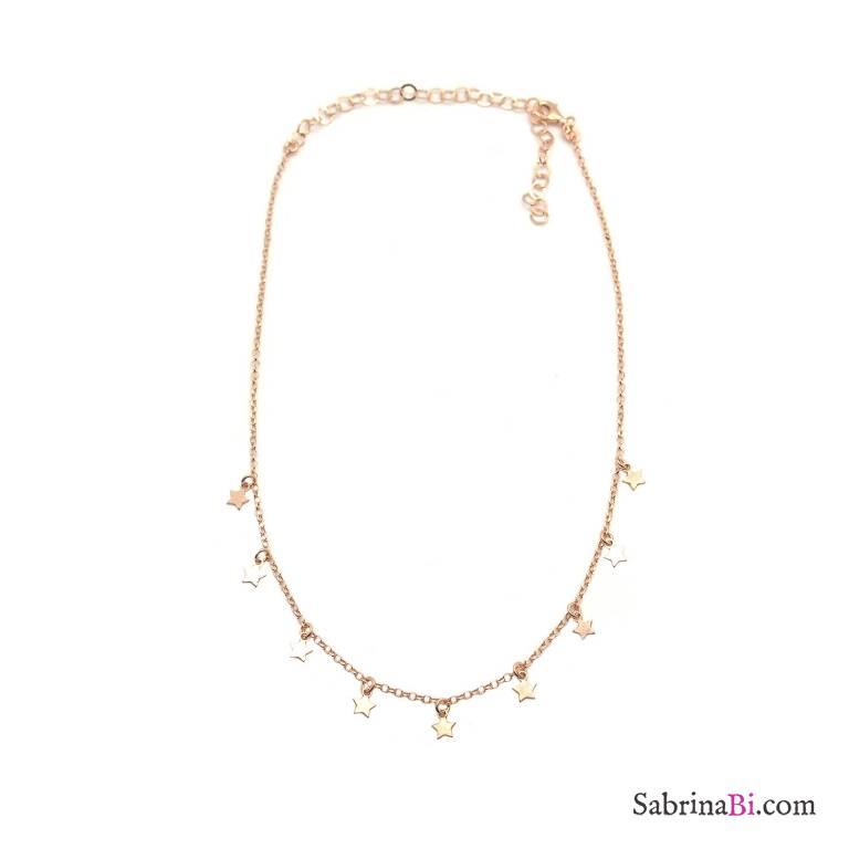 Collana choker argento 925 oro rosa stelline