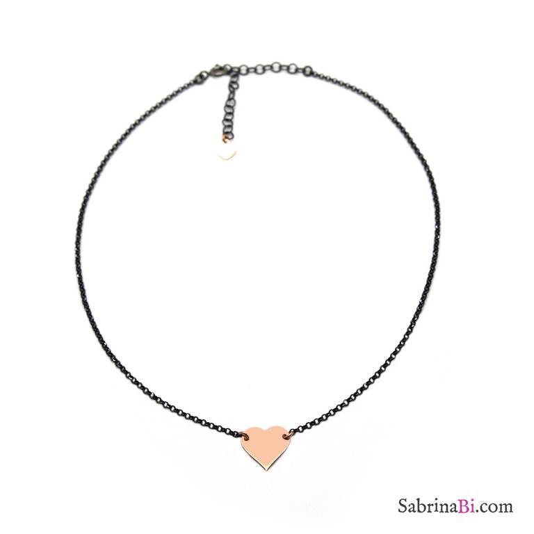 Collana choker argento 925 rodiato nero Cuore oro rosa