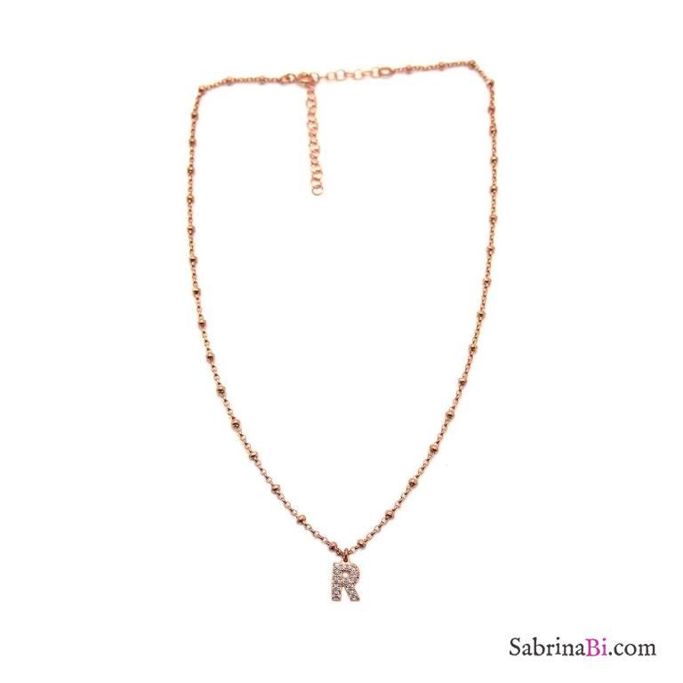 Collana choker argento 925 rosario oro rosa lettera iniziale nome Zirconi