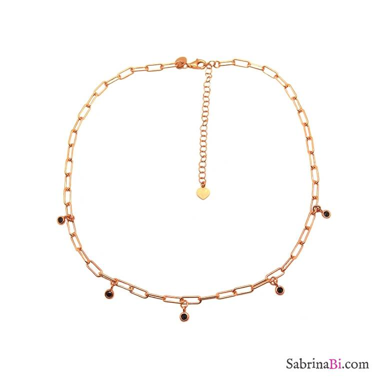Collana choker catenella graffetta piccola argento 925 oro rosa Zirconi neri
