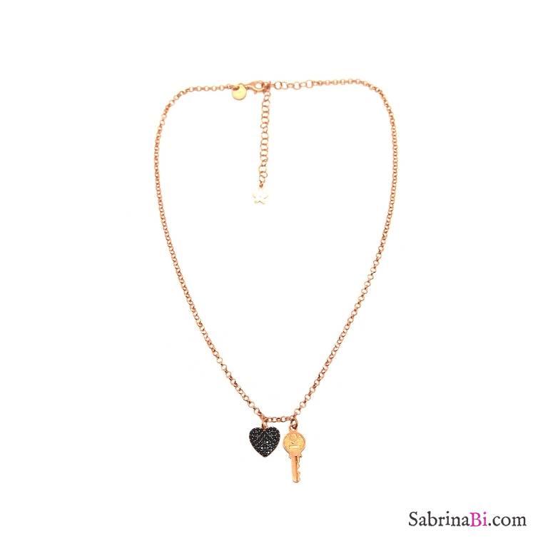 Collana choker girocollo argento 925 oro rosa Cuore Zirconi neri e Chiave