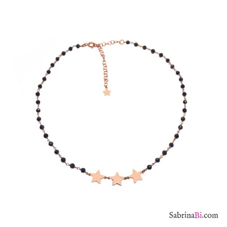 Collana choker girocollo argento 925 oro rosa rosario Lapislazzuli blu e 3 stelle