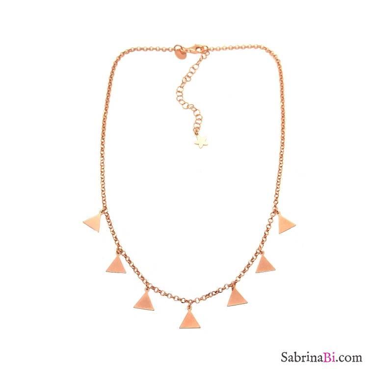 Collana choker/girocollo argento 925 oro rosa Triangoli