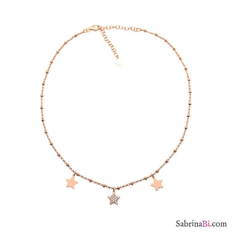 Collana choker girocollo argento 925 rosario oro rosa Tre Stelle