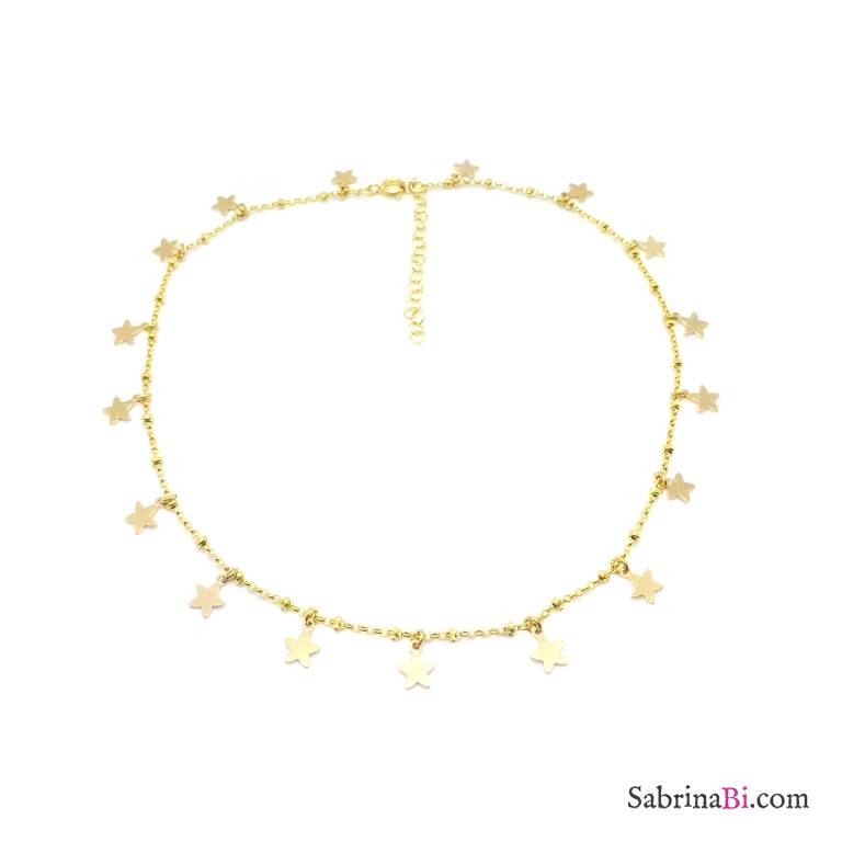 Collana choker girocollo rosario argento 925 oro giallo Tutto Stelle