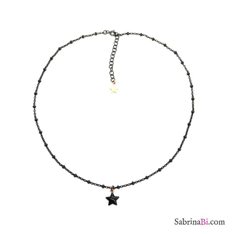 Collana choker girocollo rosario argento 925 rodiato nero Stella nera