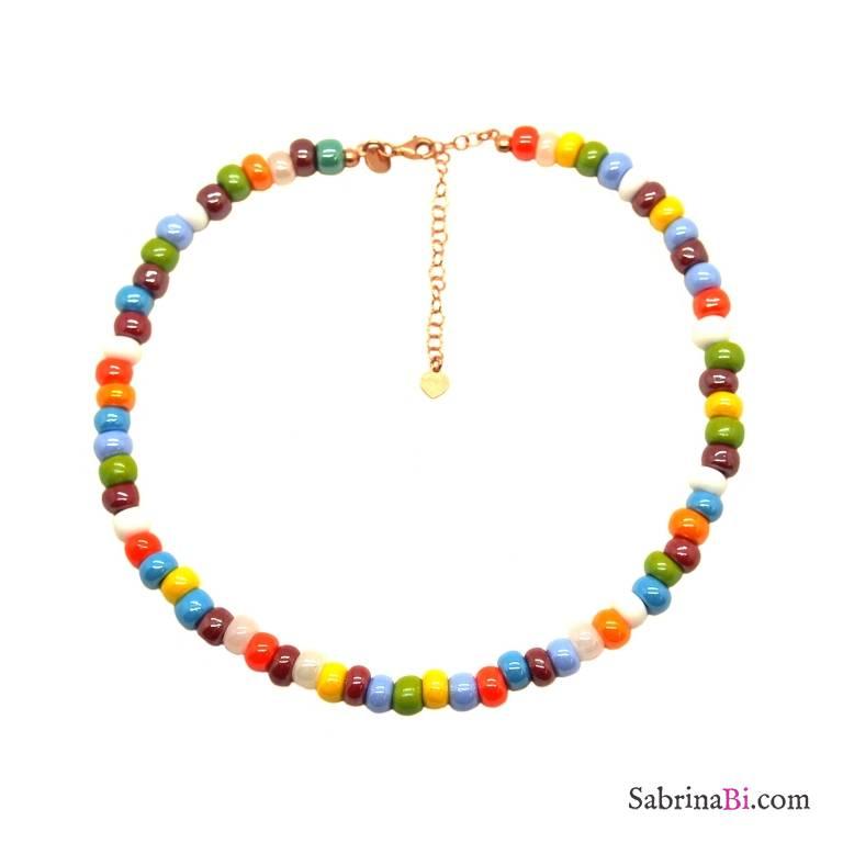 Collana choker maxi perle di vetro multicolor