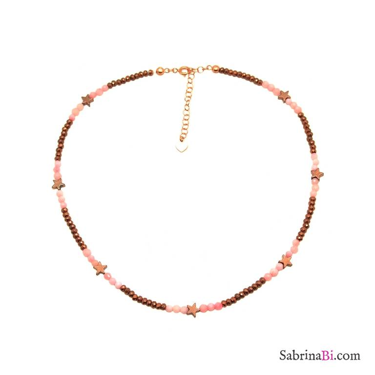 Rose quartz and bronze beads choker necklace with stars