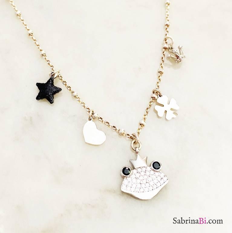 Collana choker rosario argento 925 Kiss me, frog