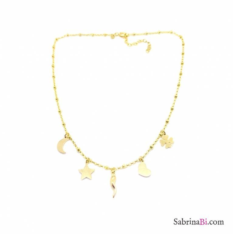 Collana choker rosario argento 925 oro giallo 5 charms