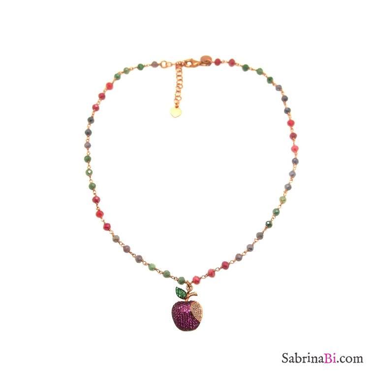 Collana choker rosario argento 925 oro rosa cristalli multicolor Mela Zirconi