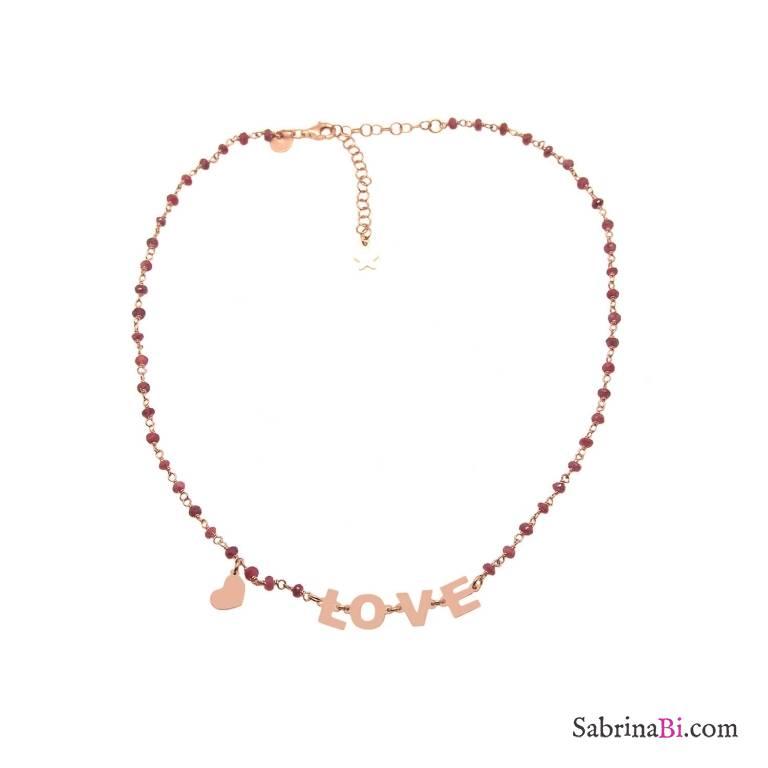 Collana choker rosario argento 925 oro rosa Granato LOVE