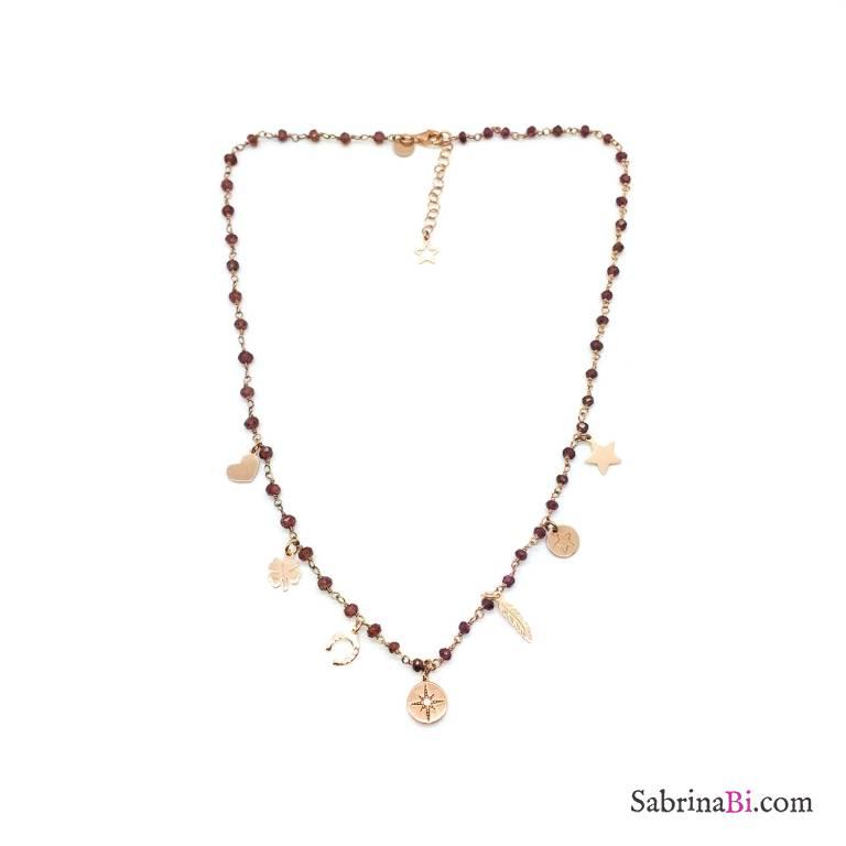 Collana choker rosario argento 925 oro rosa Granato rosso multi charms