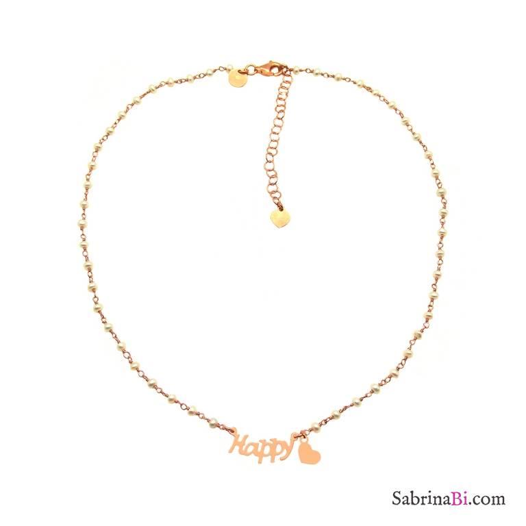 Collana choker rosario argento 925 oro rosa perle bianche Happy