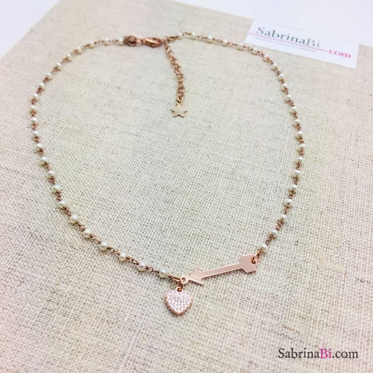 Collana choker rosario argento 925 oro rosa perle freccia cupido e cuore