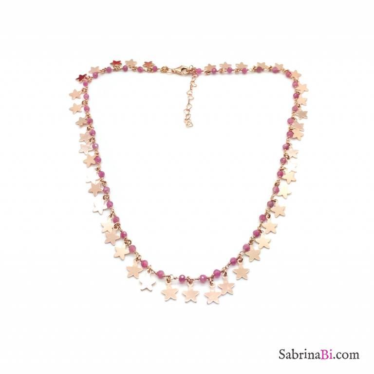 Collana choker rosario argento 925 oro rosa Quarzo rosa All Stars