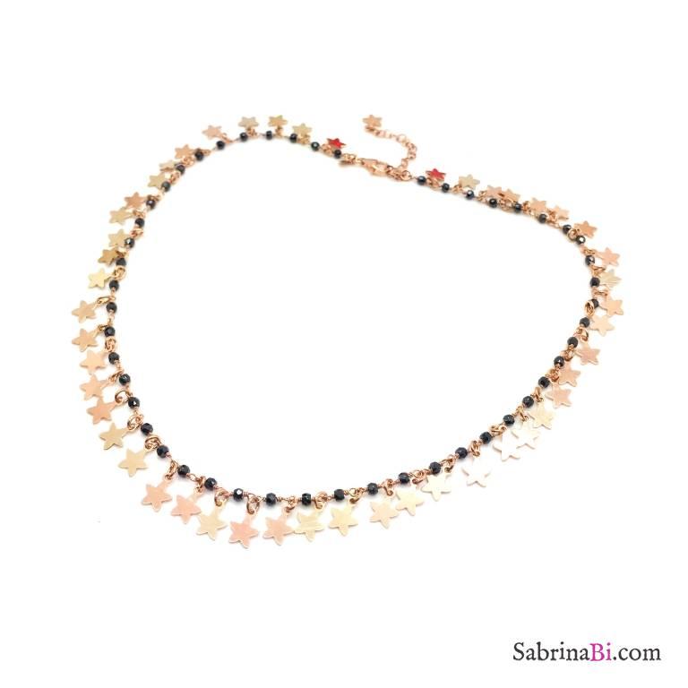 Collana choker rosario argento 925 oro rosa Spinelli neri All Stars