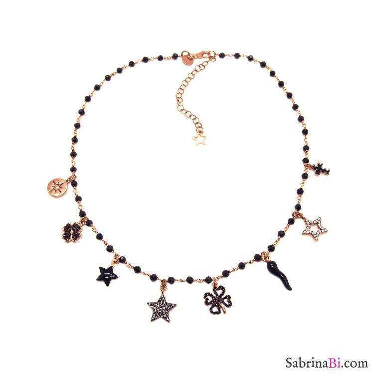 Collana choker rosario argento 925 oro rosa Spinelli neri e 8 charms