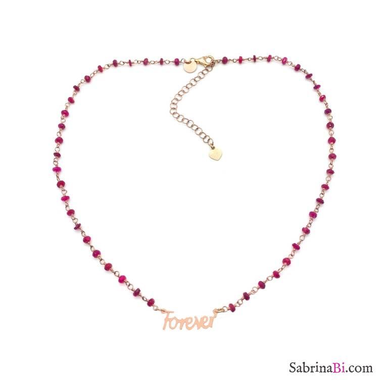 Collana choker rosario rosso rubino argento 925 oro rosa Forever