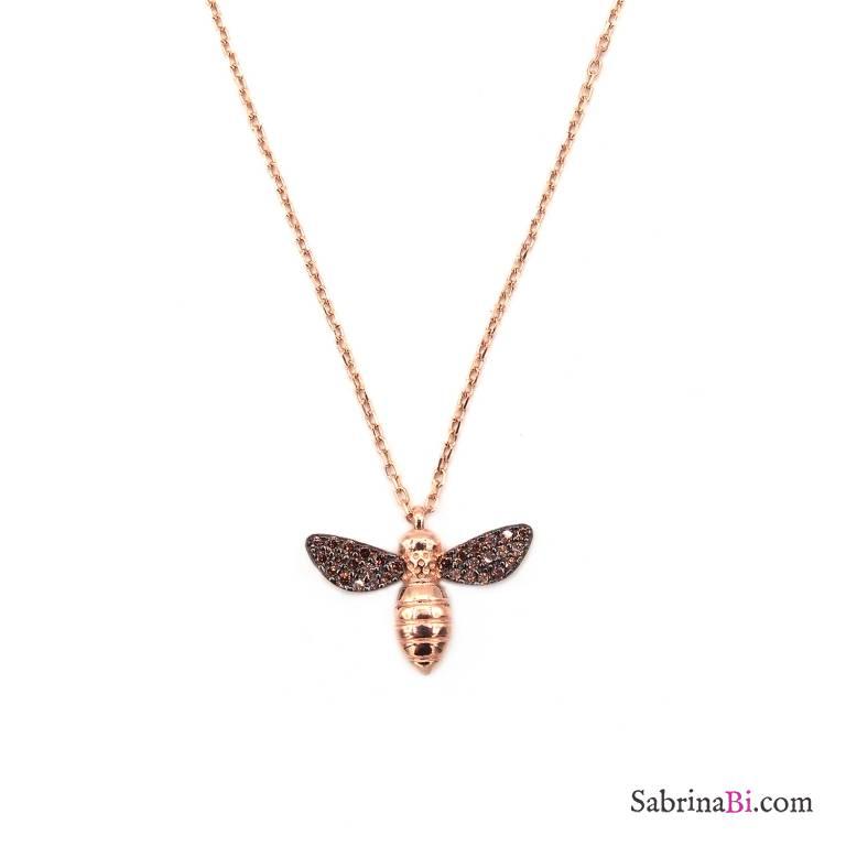 Collana corta argento 925 oro rosa Ape brillanti bronzo