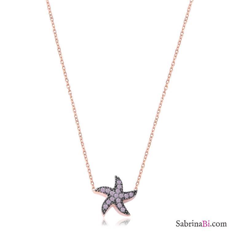 Collana corta argento 925 oro rosa Stella Marina brillanti glicine