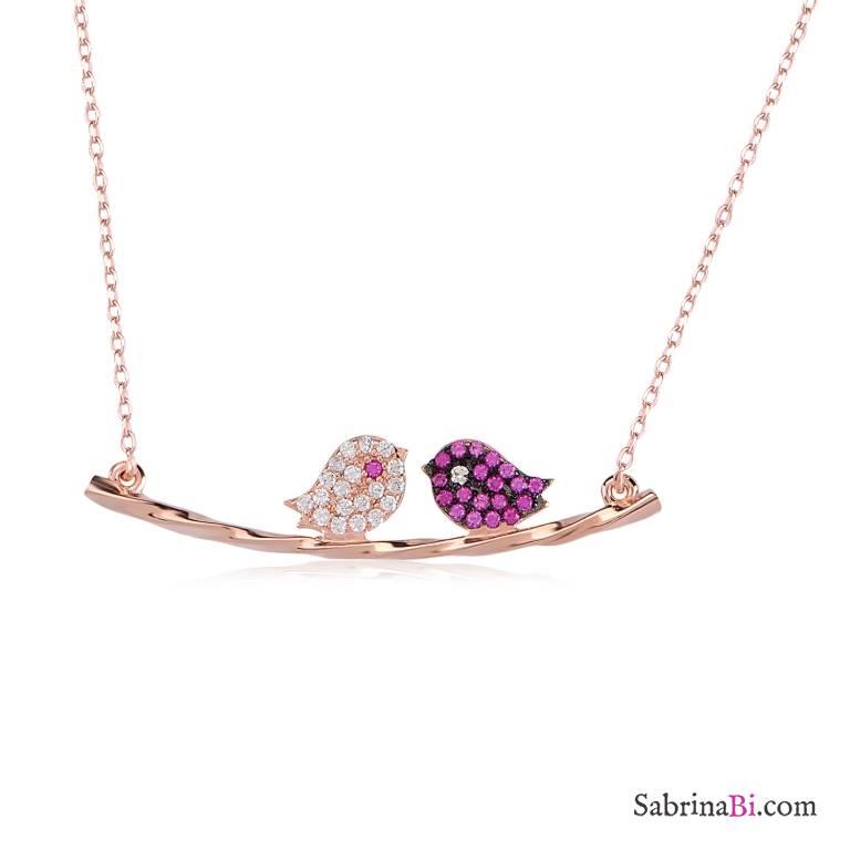 Collana corta argento 925 oro rosa Uccellini sul ramo