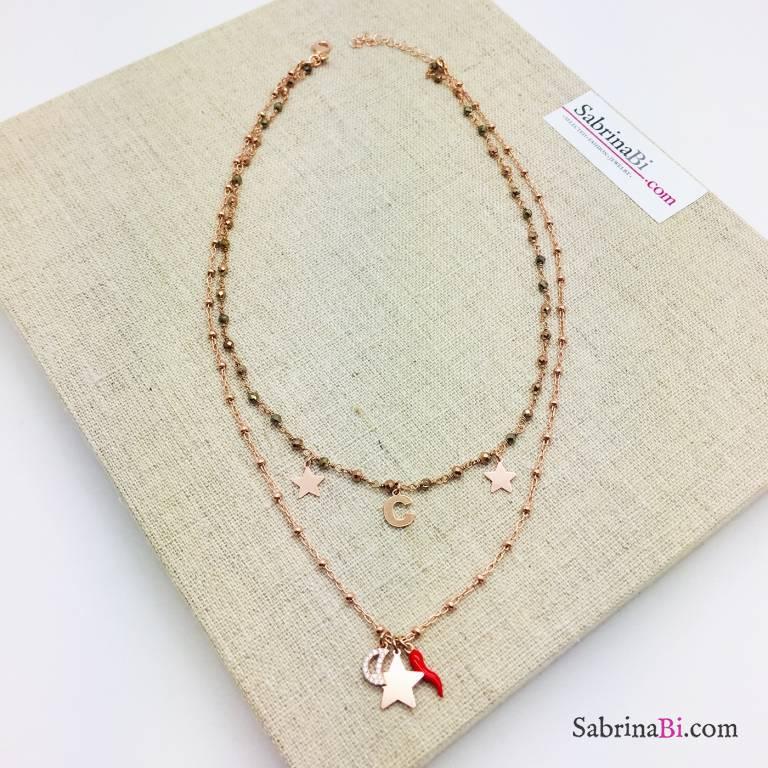 Collana doppia argento 925 oro rosa Melissa